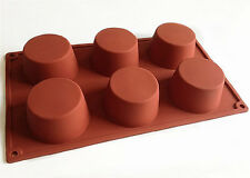 6-Big Cylinders Round Cake Mold Cookie Mould Flexible Silicone Soap Mold
