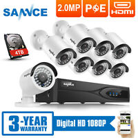 SANNCE 4/ 8pcs 1080P POE Security Camera 4CH/ 8CH NVR Outdoor Network System HDD