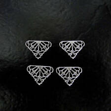 6 Antique Silver 15x11mm Filigree Triangle Connectors, Made in USA, AS17