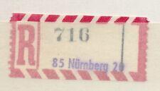 63994) Bund, AKZ Reco-Zettel Provisorium viol L1 85 Nürnberg 20