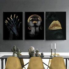 Negro Sexy Girl cartel pintura de oro de los labios de lona para Salón de Arte para Decoración de pared