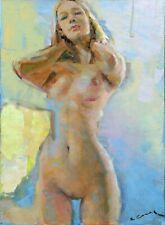 Original Acrylic Painting on Canvas Nude Female Figure Signed