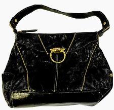 Baby Phat Shiny Black Handbag Shoulder Bag Purse With Gold Tone Accents