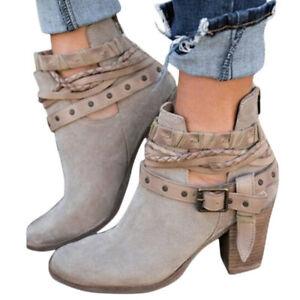 Women's Mid Heel Block Short Ankle Boots Winter Ladies Punk Cowboy Botas Shoes