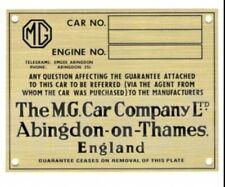 MG Chassis ID Plate. SA, VA, TA, TF, TC, TD. Unstamped