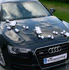 Wedding car decoration Flowers & hearts set bows, garland wedding car flowers