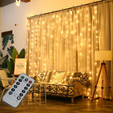 300 LED Fairy String Lights In/Outdoor Curtain Window Wedding Xmas 8 Modes Lamp