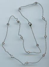"SINGLE STRAND RHODIUM PLATED 3.25 CT TW 20"" RUSSIAN CZ BY THE YARD NECKLACE"