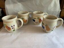 Unused Mint Longaberger Fruit Medley Coffee Tea Mug Cup Pottery Set 4