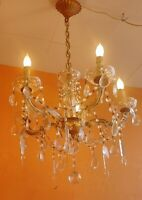 ANTIQUE 5 ARMS CRYSTAL GLASS CHANDELIER MARIA THERESA Lots of  CRYSTALS