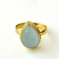 Pear Aqua Chacledony Gemstone Sterling Silver Yellow Gold Handmade Gift Ring