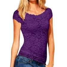 Women Ladies Casual Short Sleeve Lace Croceht Blouse Pullover Tops T-shirt Vest