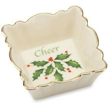 "Lenox Holiday ""Cheer"" Square Fluted Christmas Candy Dish, New in Box 822397 New"