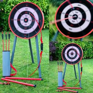 New Garden Archery Set Game Fun Bow Arrows Target Blow Pipe & Darts Party