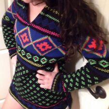 NEW~RALPH LAUREN COLORFUL CHUNKY AZTEC TUNIC Pullover Sweater POM HOODIE SMALL S