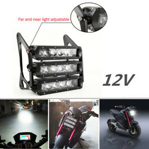 12V Motorcycle Headlight Fog Lamp White LED CNC Bracket ATV Modified Waterproof