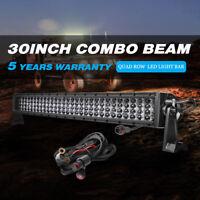 "1200W 30"" Offroad Driving OSRAM LED Spot Flood Work Light Bar Quad Row COMBO Fog"