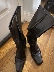 COACH Brown Leather Mid Calf Boots P032 ~ 8 B