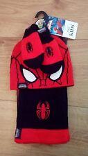 Nouveau bébé garçon Spider-Man Marks & Spencer Chapeau, Écharpe & Moufles Lot Âge 6-18 mois