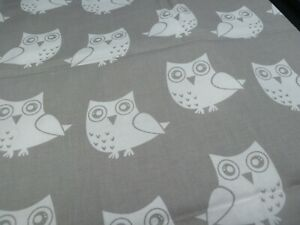 100% Cotton Fabric - OWLS ON GREY - Large FQ