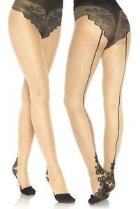 Spandex Sheer Nude W/Black Backseam French Cut Tights W/Baroque Cuban Heel