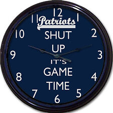 New England Patriots Football Shut Up It's Game Time Wall Clock NFL Man Cave 10""