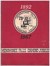 1967 Softcover book Menomonee Falls (WI) Diamond Jubilee 1892-1967