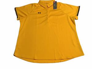 Under Armour Womens HeatGear 5-button polo shirt Yellow w/Black trim 3XL NEW
