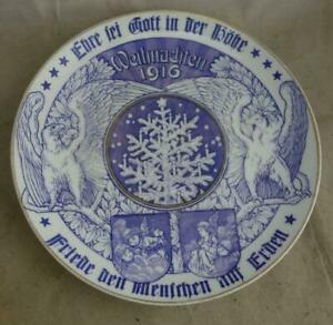 antiker Porzellan Teller Sammelteller Weihnachten 1916 Friede aden Menschen