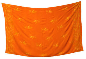 Designer Strandtuch Pareo Wickeltuch Sarong  Bambus Dessin orange Baumwolle
