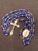 Rosary Silver Tone Blue Lucite Beads Catholic Religious Crucifix Vintage