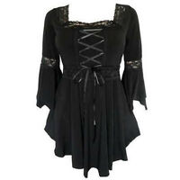 Victorian Retro Lace Up Gothic Punk Ruffle Sleeve Tunic Shirt Top Blouse Size Up