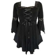 Neu Damen Ausgestellte Ärmel Spitze Damen lässige T-Shirt Gothic Oberteile Bluse