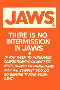 """JAWS 1975 repro UK double crown intermission poster rare 30x20"""" cinema poster"""