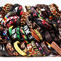 20pcs Wholesale lot Mix Styles Leather Bracelets punk Cuff Men's Women's Jewelry