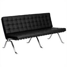 Flash Furniture Hercules Flash Leather Tufted Sofa in Black