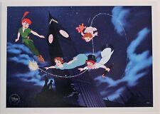 "Disney Art Print Lithograph 10x14"" Peter Pan Wendy John Michael Flying Big Ben"