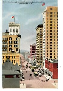 20th Street Scene-Aerial View-Trollies-Birmingham-Alabama-Vintage Postcard