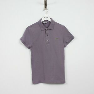 AF23 Vtg Lacoste Polo Mens Purple Short Sleeve Cotton Shirt Size Slim Fit 2 XS