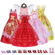 Set 5 Vestiti FATTI A MANO Fantasia + 10 Paia Scarpe per Barbie Bambole ap7e