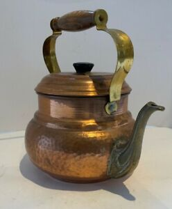 Vintage hammered copper and brass teapot, kettle, wood handle & plastic knob .