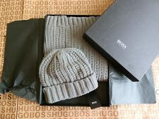 Hugo Boss designer grey thick knit virgin wool beanie hat cap scarf gift set