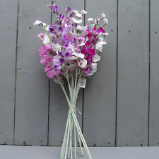 Artificial Silk Sweet pea Flowers - 14 Stems in Purple, Ivory and Pink