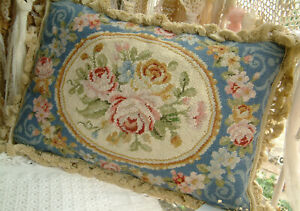 """20"""" Sturnning Roses French Country Shabby Chic Blue Needlepoint Pillow Cushion"""