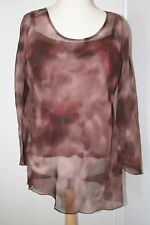 BNWT SIZE 26 MAUVE MIX SHEER TUNIC WITH CAMISOLE & ASYMETRIC HEM 1172