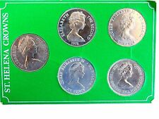 ST. HELENA CROWNS SET: All 5~ 1973-1977-1978-1980-1981. IN DISPLAY CASE. RARE