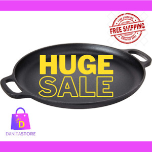 Cast Iron Pizza PAN FLAT SKILLET BAKING PLATE KITCHEN COOKWARE FOR OVEN 14 IN.