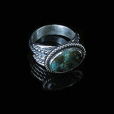 UNISEX Sterling Silver Natural Green Kingman Turquoise Ring size 6 1/2