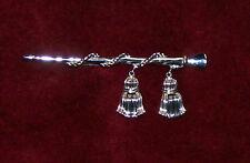 vtg 1950s silver Tone Crown Trifari Drum Major's Baton Rope Tassels Pin Brooch