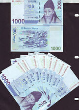 "New listing Korea New Banknote ""1,000 won X 10Pcs (Unc)"" nice number"